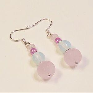 Simply Sweet Opalite Crystal & Pink Glass Earrings